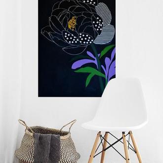 Картина Пион с полосками, 60х90 см, холст, масло, галерейная натяжка, графичная живопись для лофтов