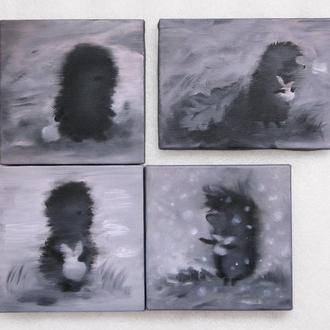 МІНІ картина Їжачок в тумані і сніжинки, 20х20 см, полотно, олія, галерейна натяжка, на подарунок!