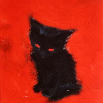 Картина Сонный котеночек, 25х30 см, холст, масло, галерейная натяжка, яркая интерьерная живопись