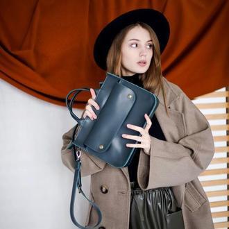 Женская зеленая кожаная сумка. Стильная повседневная зеленая сумка