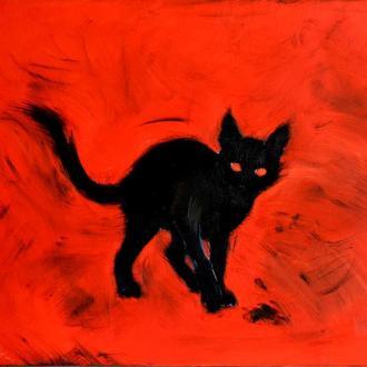 Картина Маленький черный демон, 60х70 см, холст, масло, галерейная натяжка, яркая картина с котенком