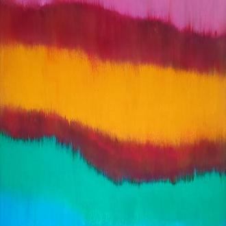 Картина 6 полос, 50х80 см, холст, масло, галерейная натяжка, яркая абстрактная живопись