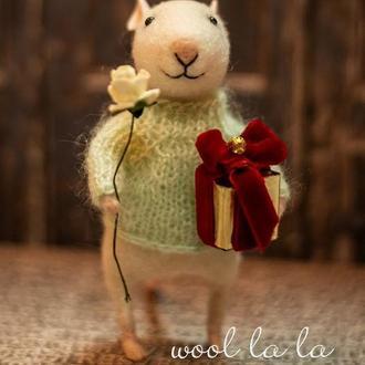 """мышь """" Роберт """" , Игрушка из Шерсти , Подарок , Интерьерные игрушки , Ручная Работа"""