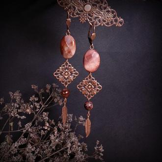 Серьги Розовые мечты из граната и яшмы