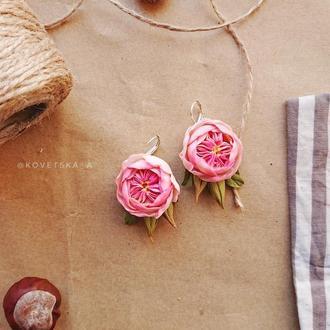 Серьги английская роза из полимерной глины