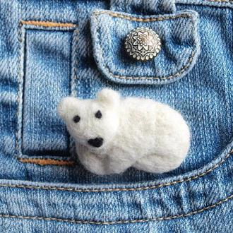 Брошь мишка Умка, белый медвежонок