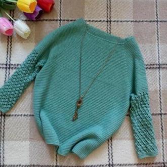 Красивенный вязаный свитер с шишечками из итальянской полушерсти