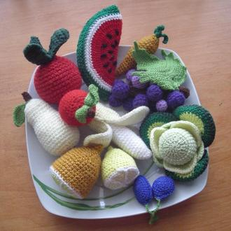 вязаные овощи и фрукты