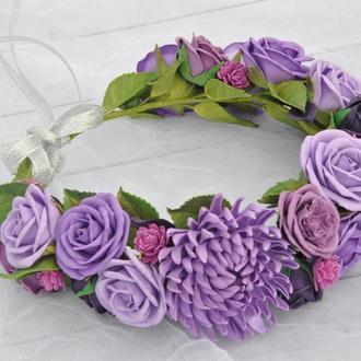 Венок осенний с фиолетовыми розами хризантемой Свадебный цветочный венок