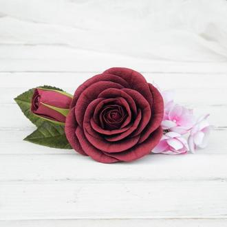 Заколка автомат с бордовыми цветами девушке / Гребешок цветочный для невесты