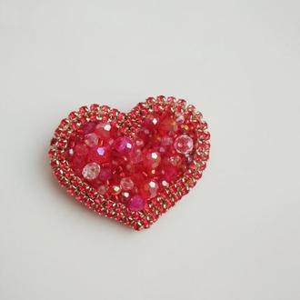 "Брошь (брелок) ""Red heart"""