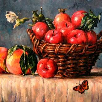 Картина Персики, сливи, метелики