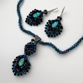 Вечерние украшения -  серьги и ожерелье «глубина»