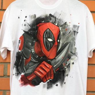 Мужская футболка с росписью - Дэдпул