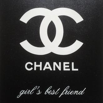 Картина с блестками Шанель - лучший друг девушек, 60х70 см, эффектная эксклюзивная картина