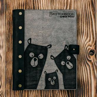"""Блокнот с деревянной обложкой в кожаном переплете  """"Медведи"""""""