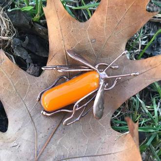 Брошь жук Подарок девушке Оранжевая медная брошь Летняя брошь