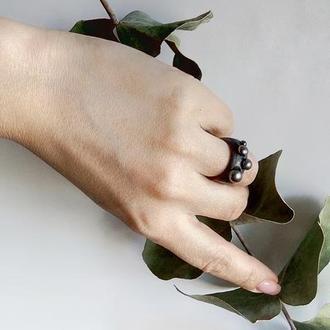 Перстень Джаз - перлини - дерево - кольцо с жемчугом