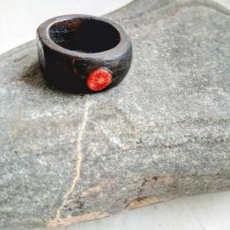 Перстень з коралом - корали - червоні - кольцо с минералом - красный