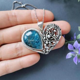 Серебряное сердце с синим апатитом. Серебряное украшение. Романтичный подарок девушке