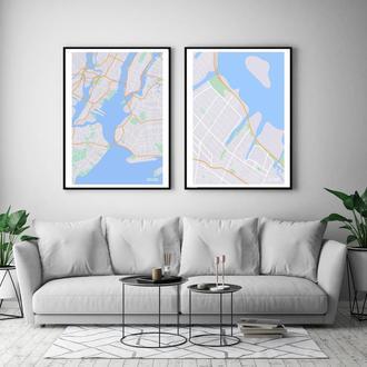 Парные интерьерные постеры Карта Нью-Йорка