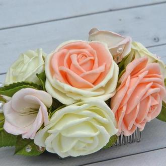 Свадебный гребень в прическу с цветами Гребень с розами цвета айвори персиковые розы