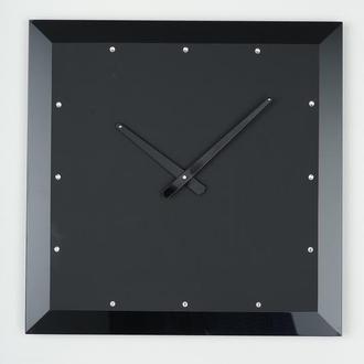Часы настенные из стекла Facet-2, черные