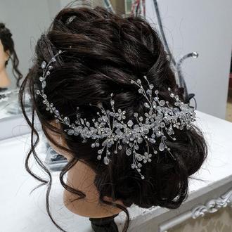 Свадебное украшение для волос, веточка в прическу, украшение в прическу, длинная веточка в прическу