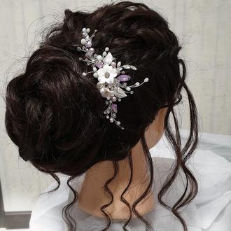 Весільна прикраса для волосся, гребінець в зачіску, прикраса в зачіску, аксесуари у зачіску