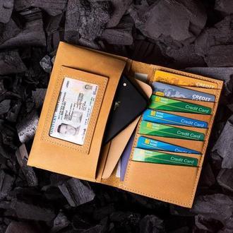 Мужское портмоне Нортон из натуральной кожи в желтом цвете от мастерской Hidemont 0172
