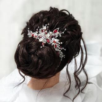 Свадебные украшения для волос, веточка в прическу, красное украшение в прическу