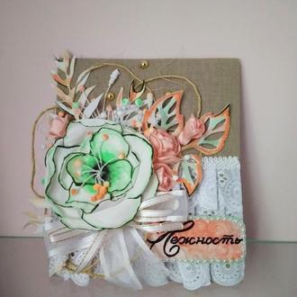 Открытка поздравительная текстильная на подарок девушке