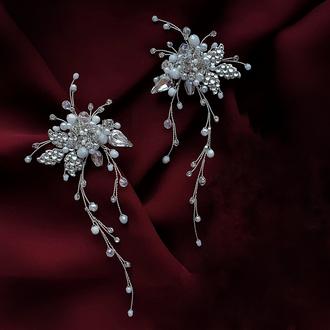 Серьги, свадебные серьги, серьги для невесты, длинные серьги