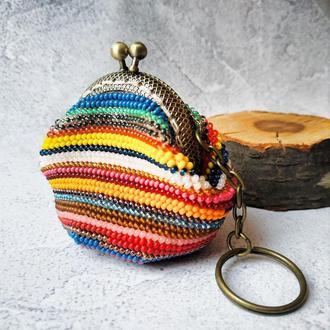 Разноцветная вязанная монетница из бисера ручной работы Футляр для наушников Брелок кошелек