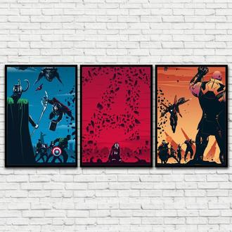 Сет из 3-х постеров (Модульный постер) Avengers Trilogy (Мстители трилогия)