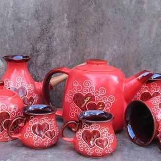 Сервиз чайно-кофейный на 2 персоны декор Сердце красный