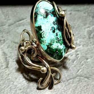 Кольцо серебряное с хризоколлой