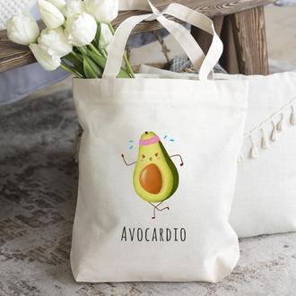 Шоппер авокадо, Экосумка авокадо, Белая сумка из хлопка, Женская сумка
