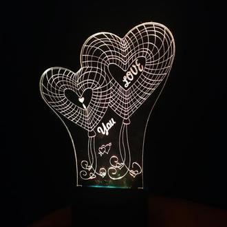 Сердца I love you, 3д ночник, 3d светильник лампа, подарок на день влюбленных, на 14 февраля