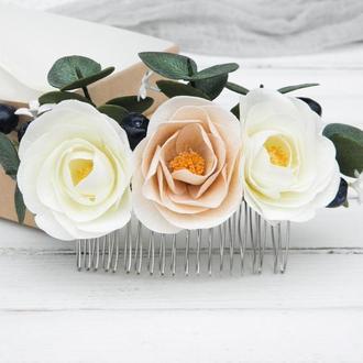 Гребень для волос с цветами Красивый гребешок невесте