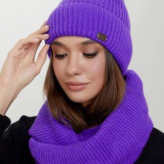 Комплект шапка с флисом и шарф-снуд