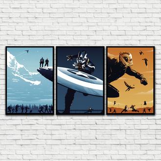 Сет из 3-х постеров Captain America Trilogy (Капитан Америка Трилогия / Первый Мститель)