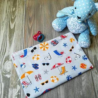 Наволочка летние зонтики на сером фоне с запахом, на детскую подушку  60*40 см,100% хлопок