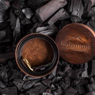 Кожаный ремень с латунной пряжкой в классическом черном цвете от мастерской Hidemont 0185