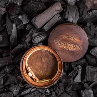 Брючный ремень из натуральной кожи с латунной пряжкой в бежевом цвете от мастерской Hidemont 0189