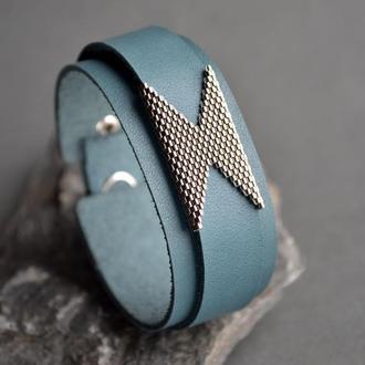 Кожаный браслет. Стильный браслет