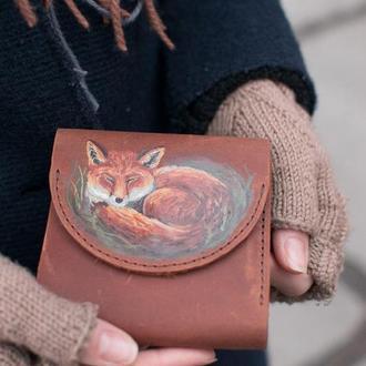 Маленький кожаный кошелек коричневый лиса с росписью или тиснением