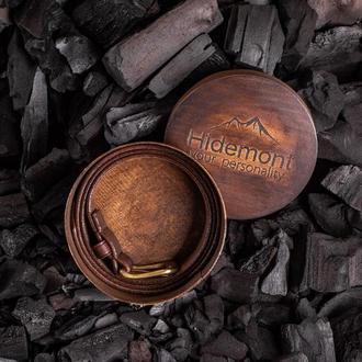 Брючный ремень из натуральной кожи с латунной пряжкой в коричневом цвете от мастерской Hidemont 0189