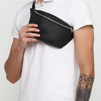 Чоловіча чорна бананка, сумка на пояс/плече