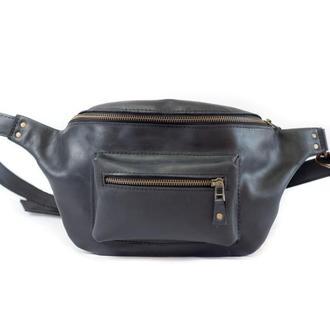 Кожаная поясная сумка. 07002/черный
